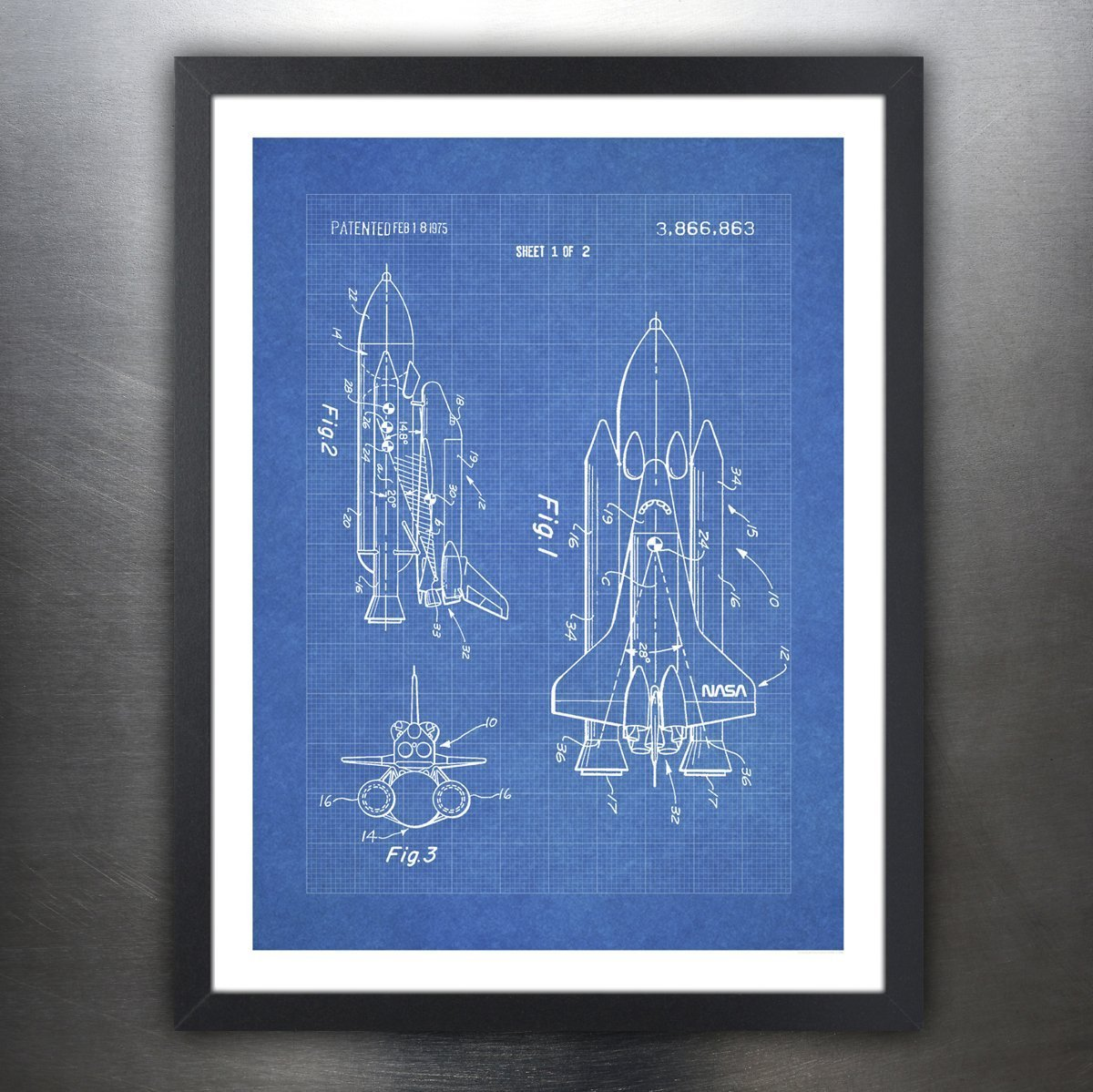 Amazon.com: Steves Poster Store SPACE SHUTTLE 1975 PATENT ART 18x24 ...