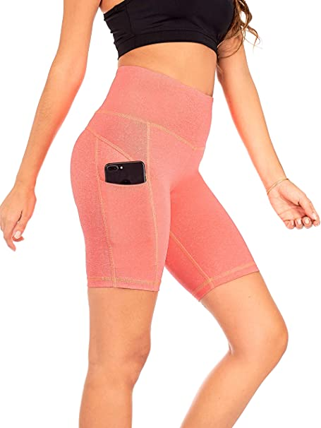 bd81125761720f DEAR SPARKLE Yoga Shorts Running Short with 3 Pockets for Women Workout High  Waist Tummy Control