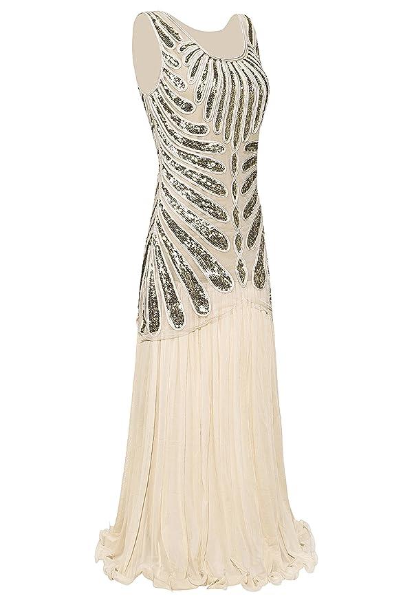 Metme Womens Roaring 1920s Paisley Chiffon Flapper Gatsby Long Dress for Prom: Amazon.co.uk: Clothing