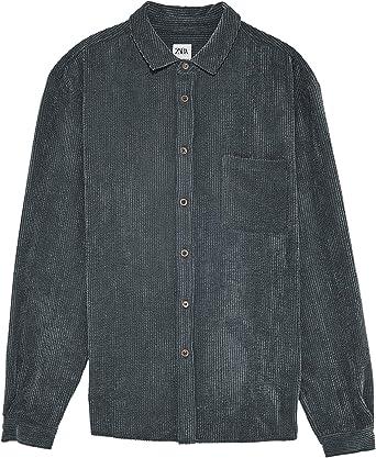 Zara 0387/301/802 - Camiseta de Pana para Hombre Gris Gris L ...