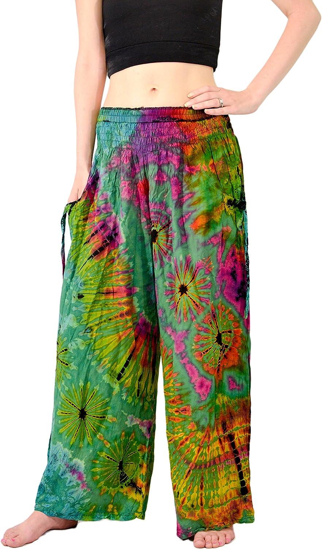 Orient Trail Womens Cold Dyed Wide Leg Palazzo Yoga Tie Dye Pants
