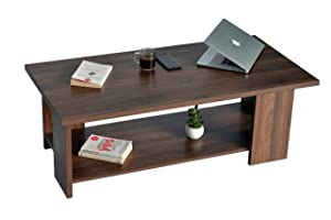 DeckUp Cove Coffee/Center Table with Storage (Walnut, Matte Finish)