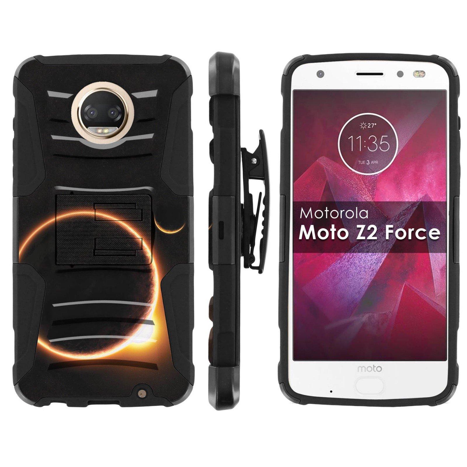[Mobiflare] Armor Case for Moto Z Force/Z Play [2nd Generation] [Black/Black] Blitz Armor Phone Case with Holster [Moto Z2 Force] [Moto Z2 Play]- [Solar Eclipse]