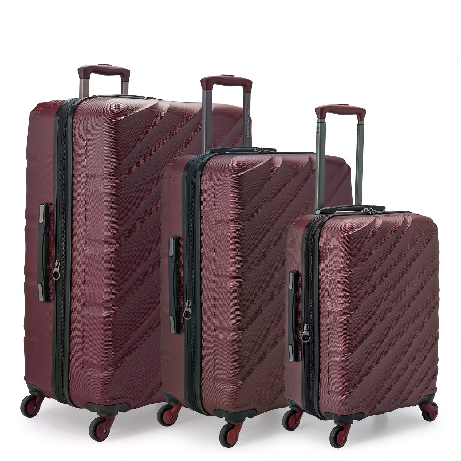 939fdfd92 Amazon.com | Travelers Choice Gilmore 3-Piece Expandable Hardside Luggage  with Push-Button Handle, Burgundy | Luggage