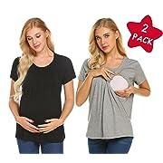 MAXMODA Women's 2 Packs Maternity Nursing Double Layer Short Sleeve Tops Black Breastfeeding Shirt Black+Light Grey S