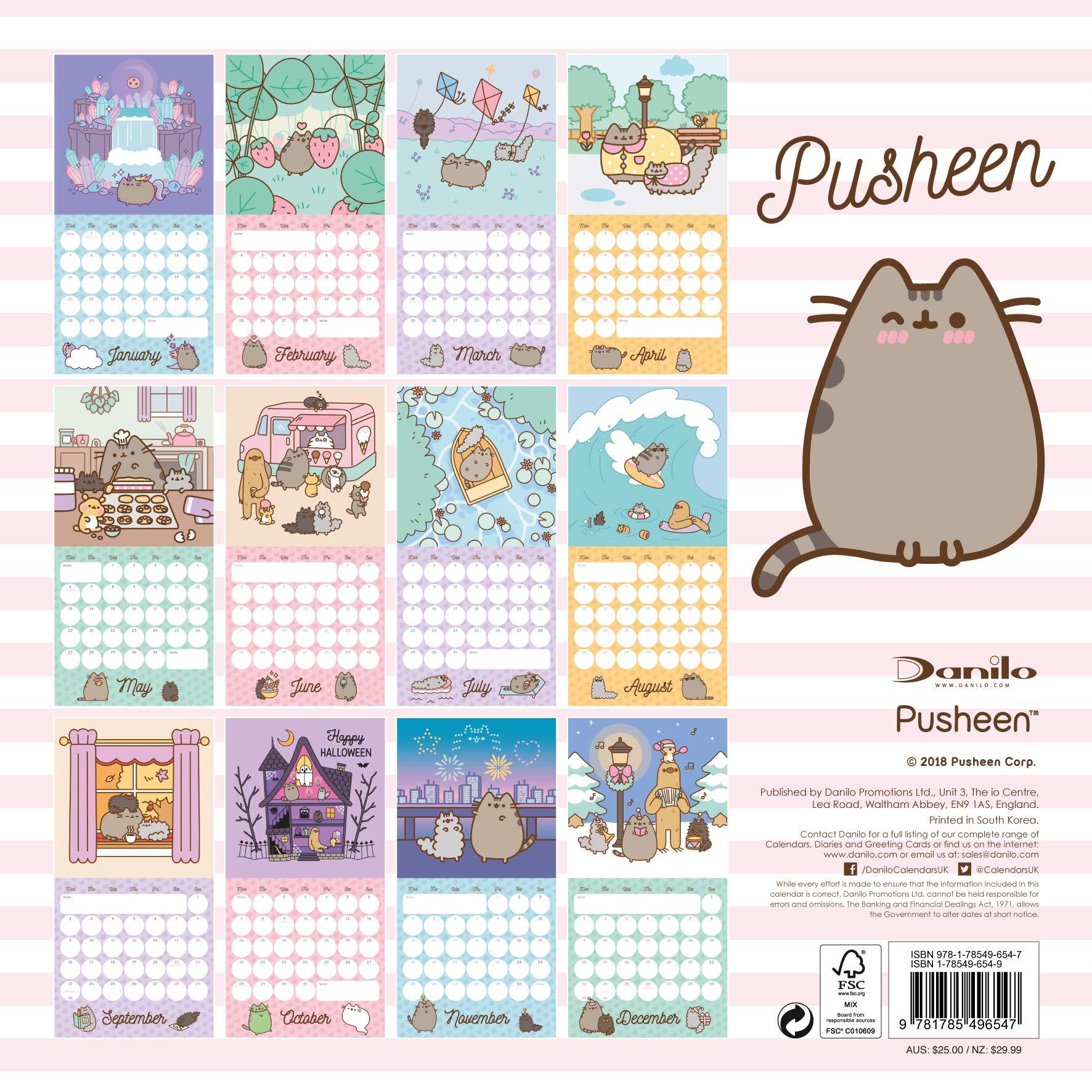 Pusheen Official 2019 Calendar - Square Wall Calendar Format ...