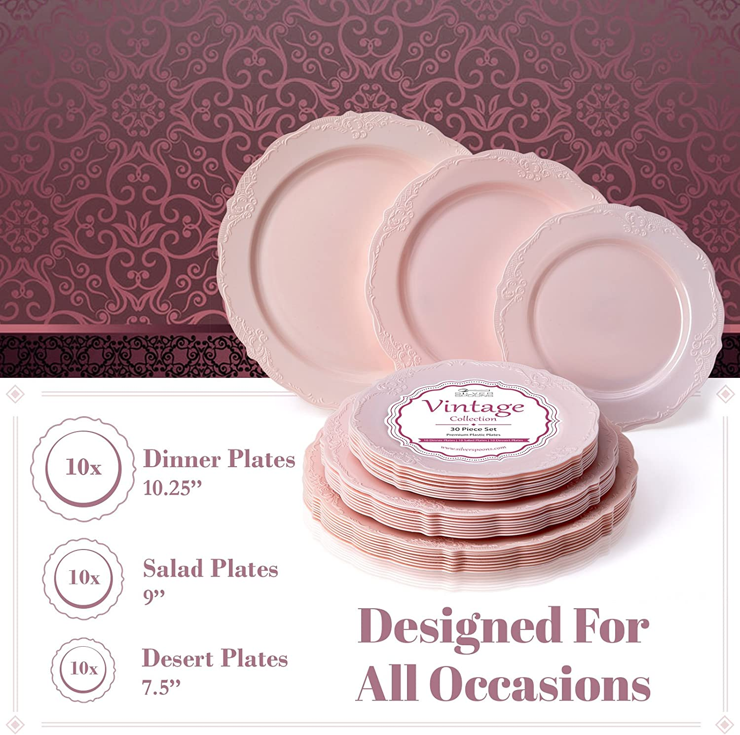 10 Dinner Plates 10 Salad Plates 10 Dessert Plates Heavy Duty Plastic Dishes Upscale Wedding Dining Elegant Fine China Look PARTY DISPOSABLE 30 PC DINNERWARE SET Vintage Collection/–White
