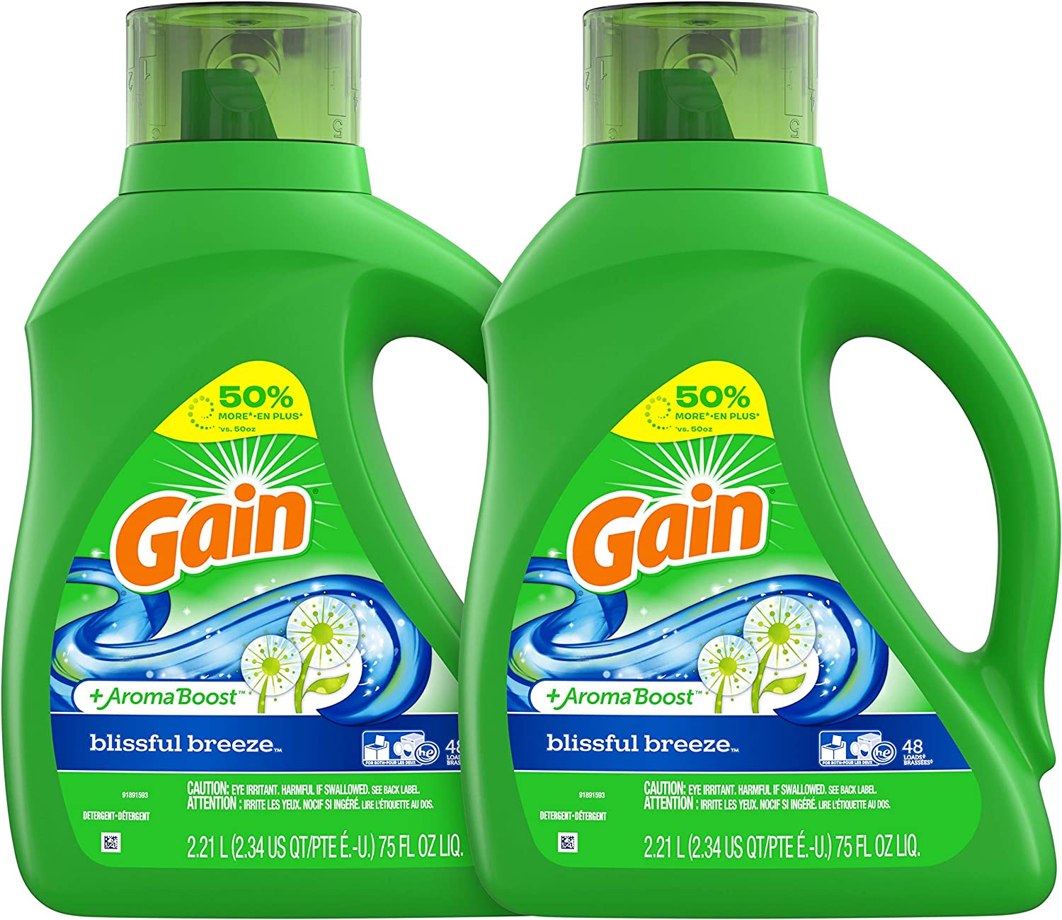 Gain Liquid Laundry Detergent, Blissful Breeze, 2 Count, 75 fl oz Each, 96 Total Loads