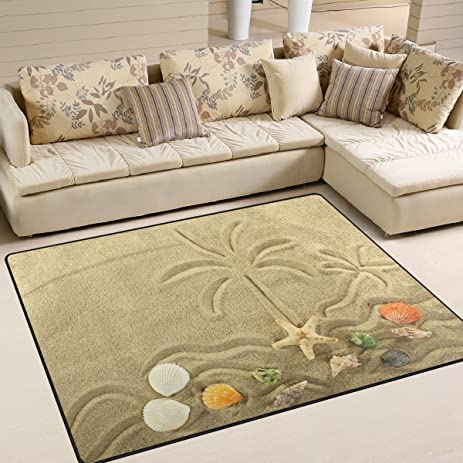 ALAZA Island In The Ocean And Palm Tree Starfish Painted On The Sand Area Rug  Rugs