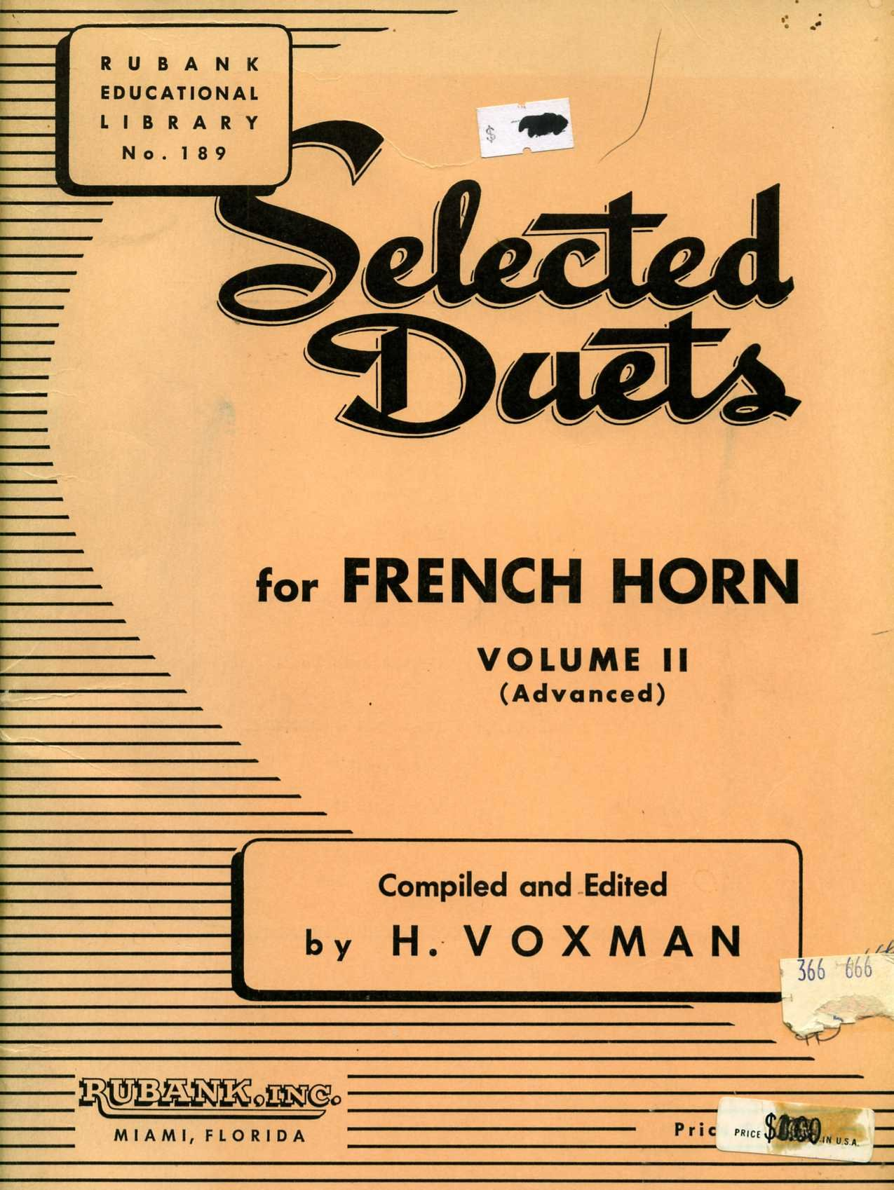 Selected Duets for French Horn Volume II (Advanced) Rubank Educational Library No. 189