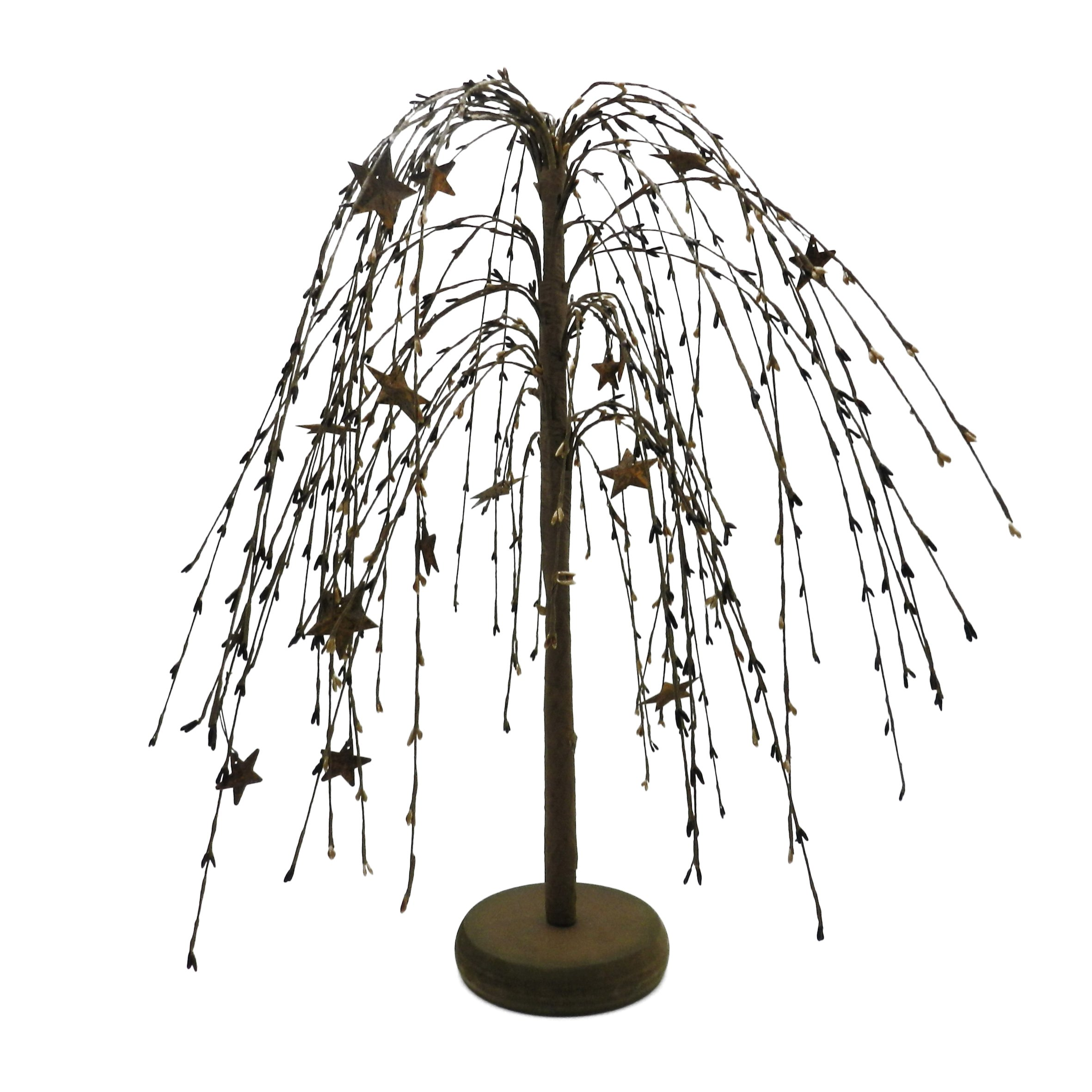 CVHOMEDECO. Mustard Burgundy Black Pip Berries Weeping Willow Tree with Rusty Stars Primitive Vintage Decoration Art, 18-Inch