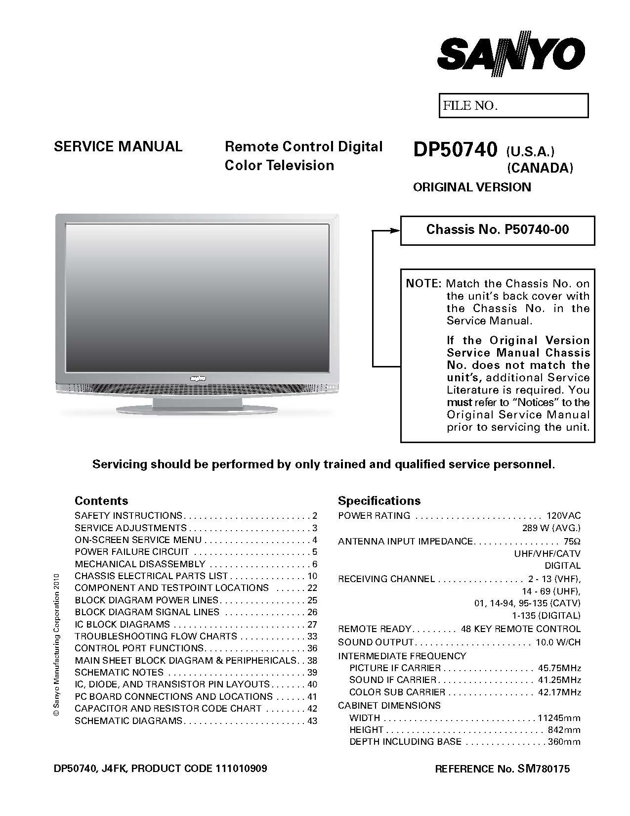 sanyo dp50740 service manual sanyo amazon com books rh amazon com Sanyo 50 Inch Plasma 720P DP50741 Sanyo 50 Inch Plasma 720P DP50741