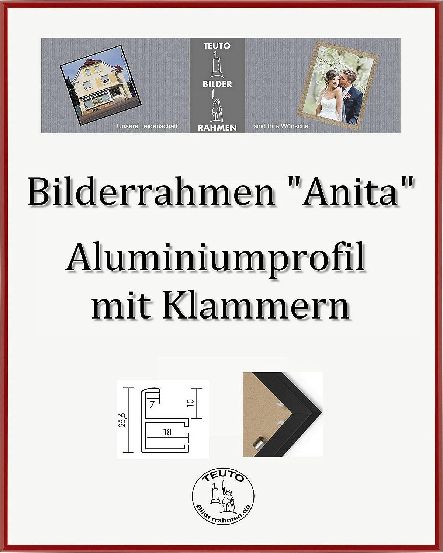 Anita Echt Aluminium Bilderrahmen 61 x 91 cm Farbe und Größe wählbar Hier Rot mit Acrylglas Antireflex 2mm