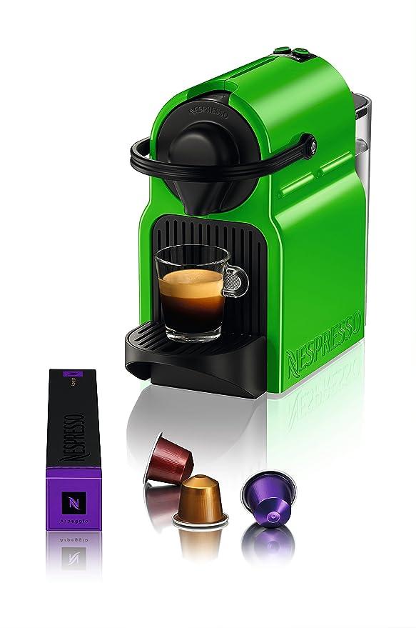 Krups Nespresso Inissia - Cafetera, sistema Thermoblock de rápido calentamiento, incluye 16 cápsulas de café, color verde