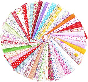 """50PCS BcPowr 10"""" x10"""" (25cmx25cm) Different Pattern Fabric Patchwork Craft Cotton DIY Sewing Scrapbooking Quilting Dot Pattern"""