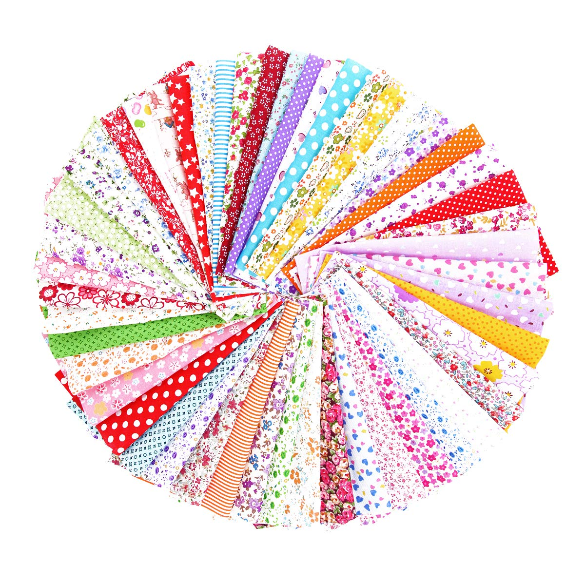 50PCS BcPowr 10'' x10'' (25cmx25cm) Different Pattern Fabric Patchwork Craft Cotton DIY Sewing Scrapbooking Quilting Dot Pattern