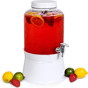 BirdRock Home 2.5 Gallon Pebbled Glass Beverage Dispenser with White Stand - Lid - Spigot - Decorative Round Jar for Drinks - Ice Bucket Tub - Drink Jar Jug - Home Parties