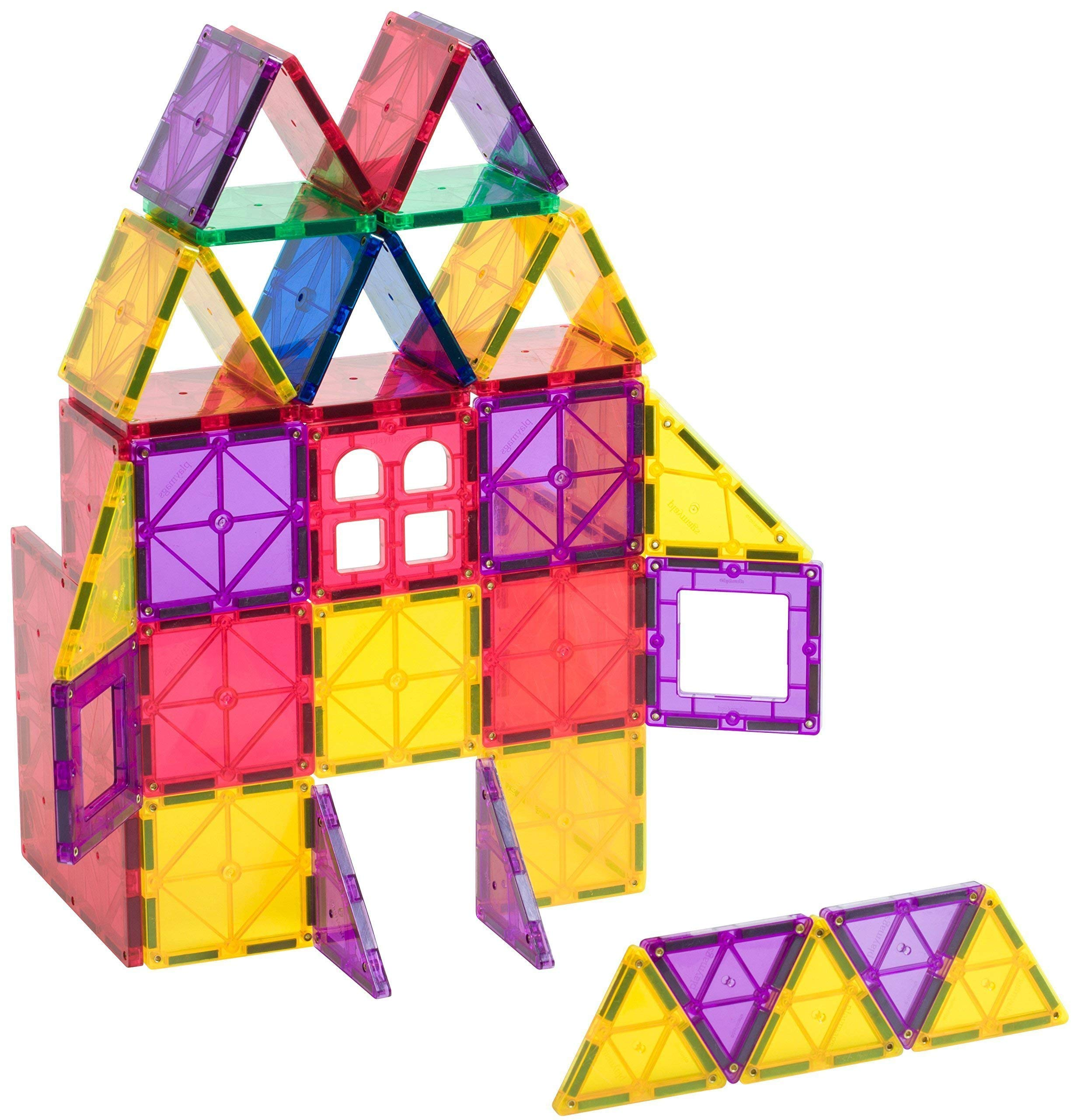 Playmags Clear Colors Magnetic Tiles Building Set 60 Piece Starter Set by Playmags