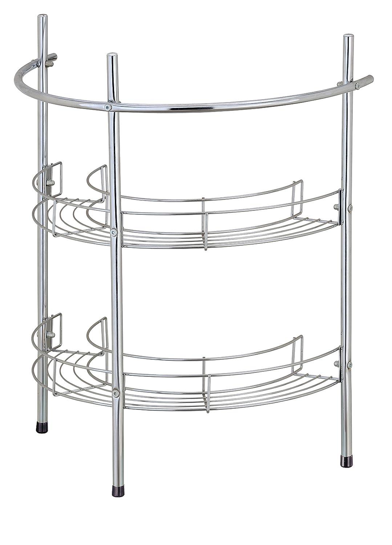 EHC Under Basin Chrome Bathroom 2 Tier Sink Storage Rack Unit Shelf & Towel Rail, Multi-Colour Elite Housewares E5-1160