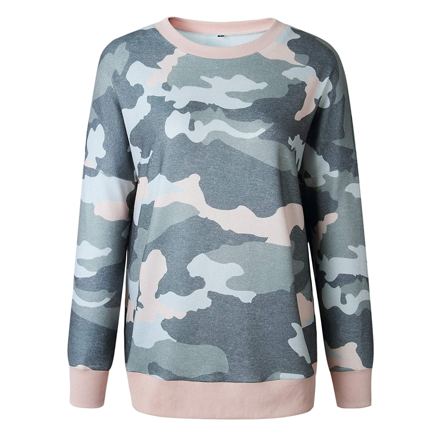 0479cc8ed0 ECOWISH Women s Camouflage Print Casual Leopard Pullover Long Sleeve  Sweatshirts Top Blouse at Amazon Women s Clothing store
