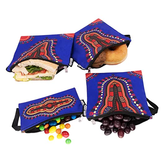 Reusable Snack & Sandwich Bags by CHAUDER - Set of 4 Meal Prep Sandwich Baggies – Eco Friendly, Dishwasher Safe & Easy to Hand Clean – Smooth Open Zipper - For Office, School (Dashiki Dark Green)
