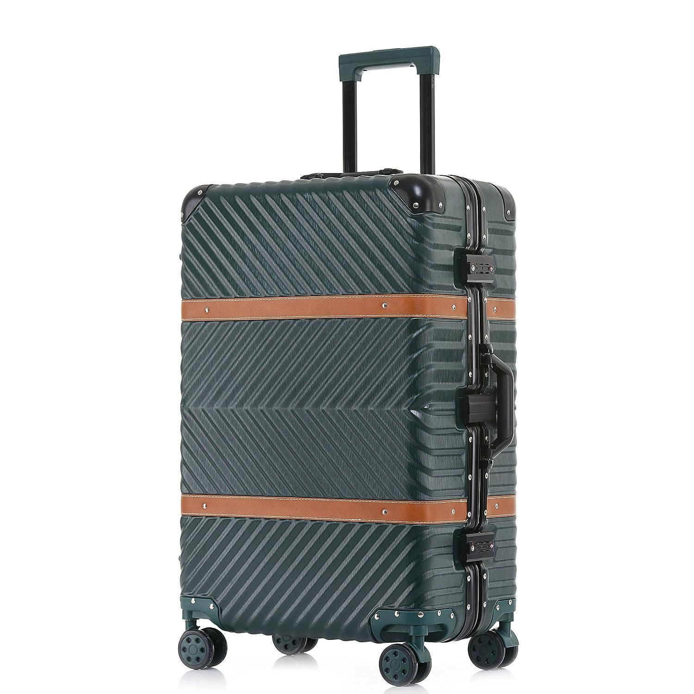 TABITORA(タビトラ) スーツケース 大型 8輪 TSAロック キャスター交換可能 止まれる 出張 軽量 大容量 静音 旅行用品 アルミフレーム B07D99335V Lサイズ 大型67L 5~7泊|グリーン グリーン Lサイズ 大型67L 5~7泊
