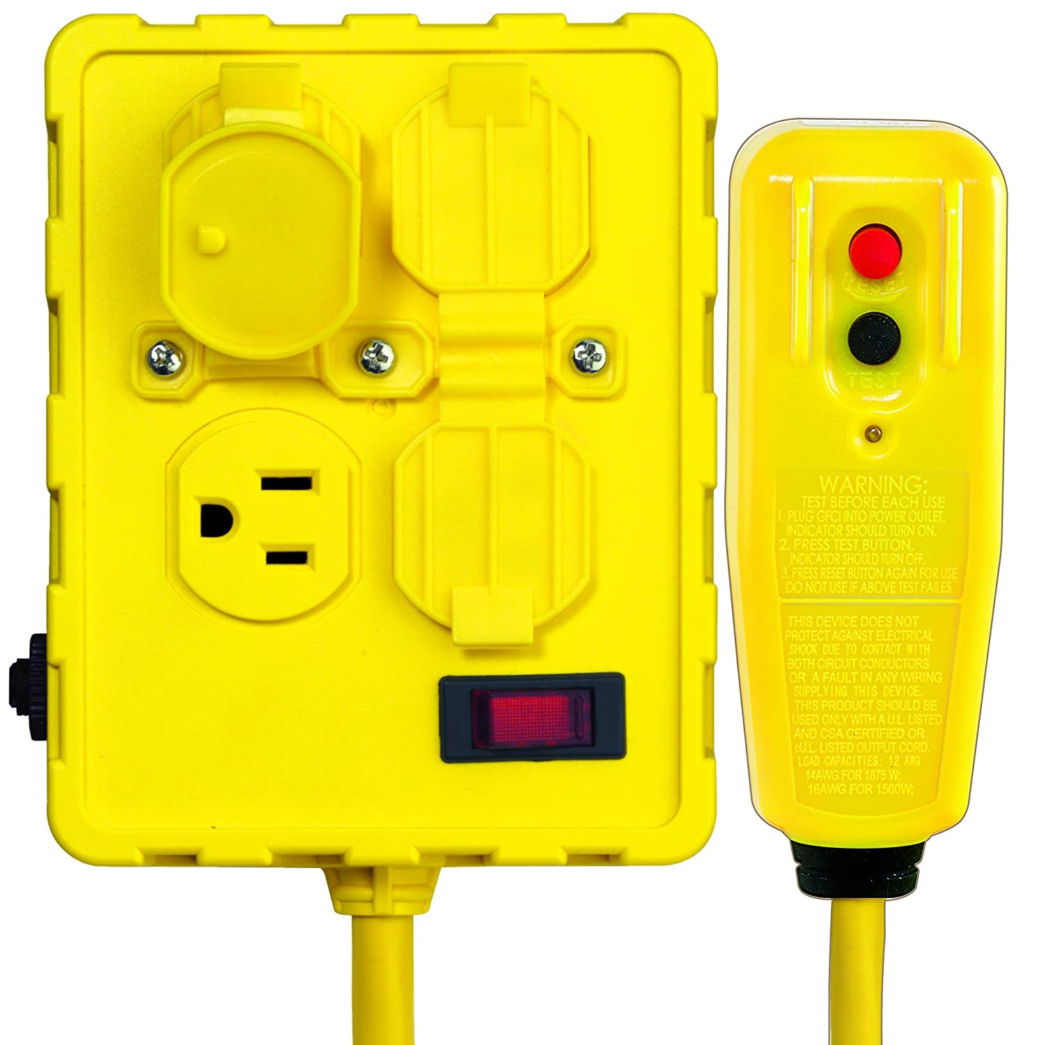 Tower Manufacturing 30434052 Auto Reset Right Angle Gfci Cord And 4 Electrical Wiring In The Home Outlet Pool Power Box 6 Feet Yellow Industrial Scientific