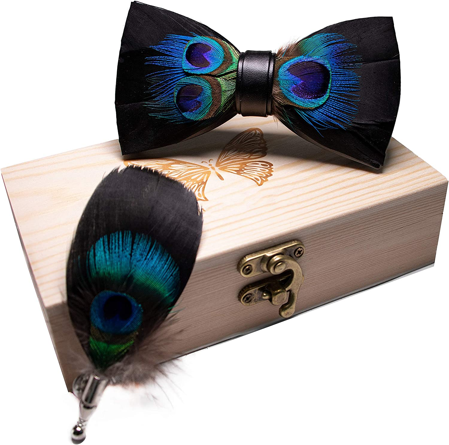 JEMYGINS Handmade Feather and Leather Pre-tied Bow tie and Brooch Sets for Men