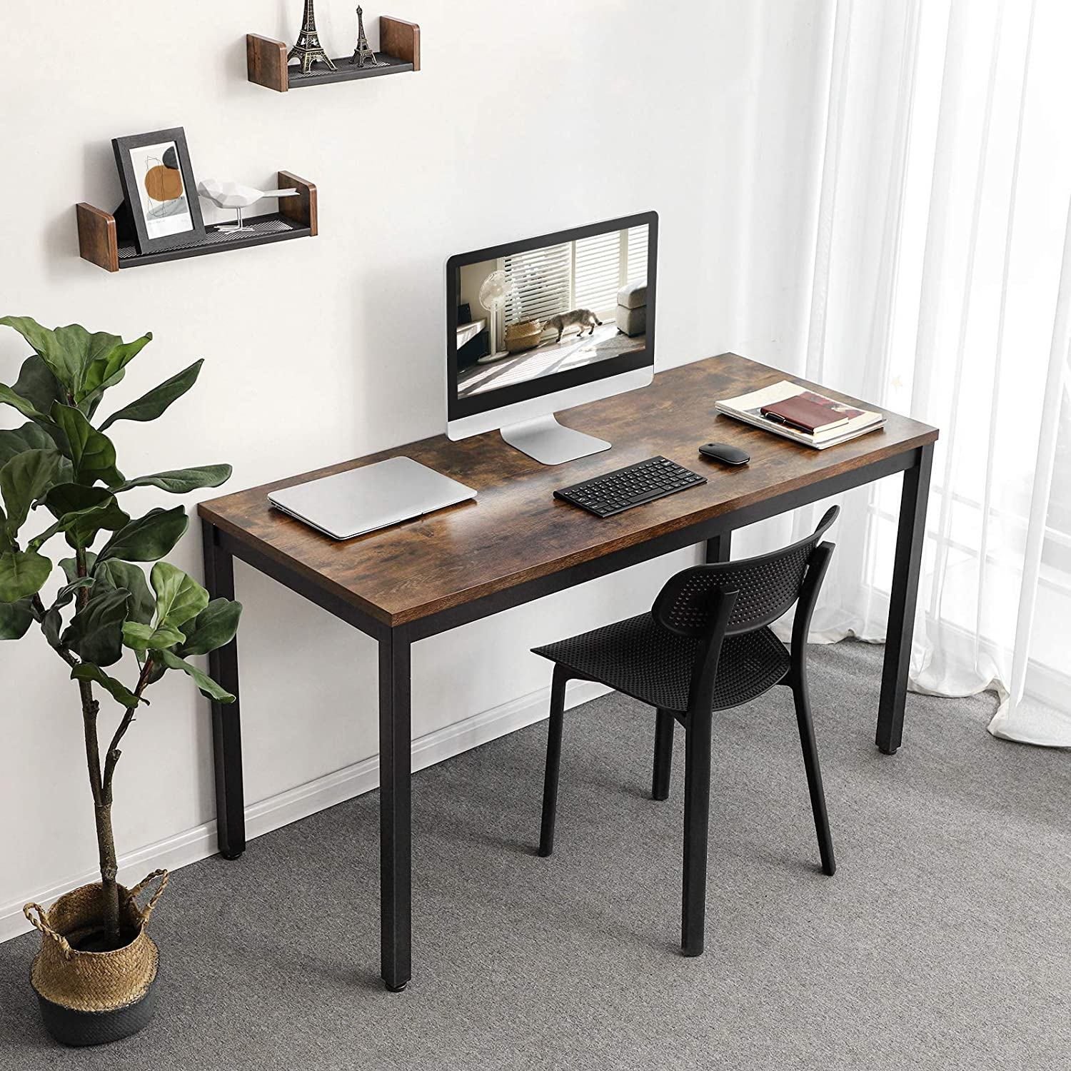 VASAGLE Industrial Computer Writing Desk Rustic Brown ULWD57X 55 Inch Office Study Desk for Laptop