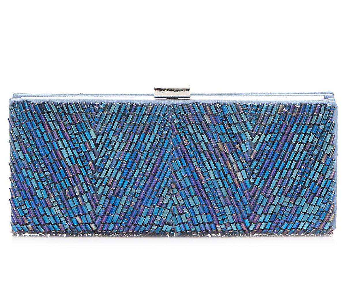 Sondra Roberts Satin Glass Bead Clutch, Blue