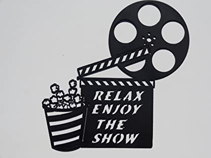 Clapboard, Movie Reel Relax Enjoy The Show Home Movie Theater Decor Metal Wall  Art