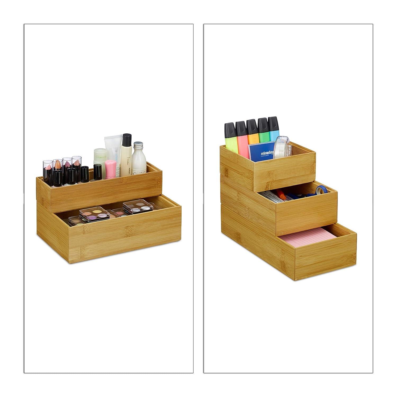 natur HxBxT: 5 x 23 x 7,5 cm stapelbar Bad nat/ürliche Optik Aufbewahrungsbox K/üche Relaxdays Ordnungsbox Bambus