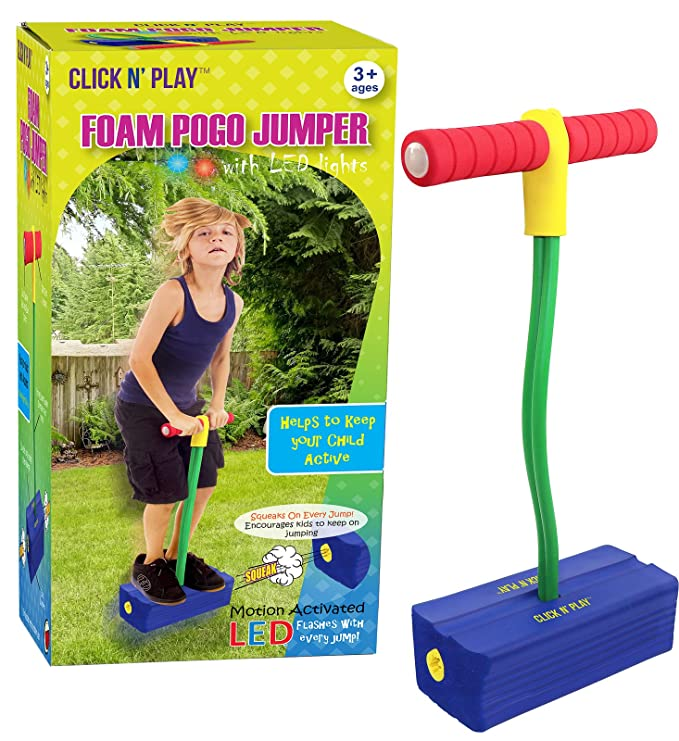Click n' Play Foam Pogo Jumper – Makes Squeaky Sounds with Flashes LED Lights $12.99