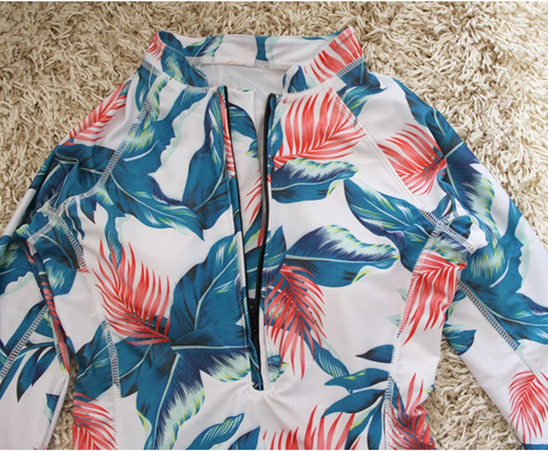 Desshok Costume Mare da Donna Push up Bikini Bohemian Costume da Bagno Zip Manica Lunga Swimsuit Swimwear Beachwear