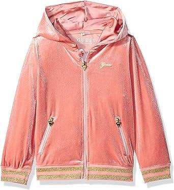 GUESS Girls Little Hooded Long Sleeve Logo Graphic Fleece