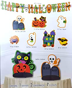 Halloween Instant Party Decor 10 Piece Decorating Kit Banner Cutout Signs Table Centerpiece (Kid Friendly Fun)