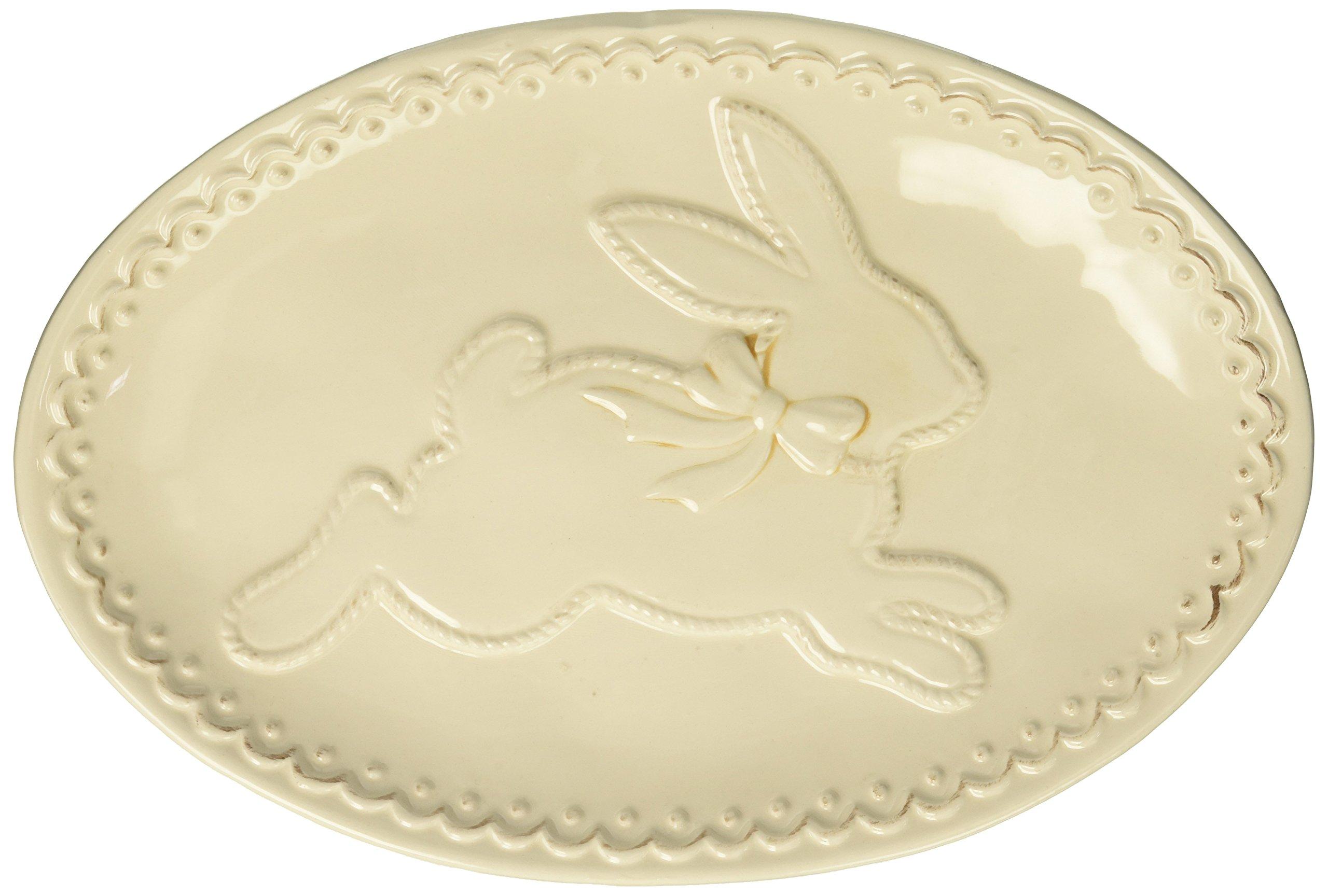 Burton and Burton Raised Easter Bunny Serving Platter, Cream, 11''