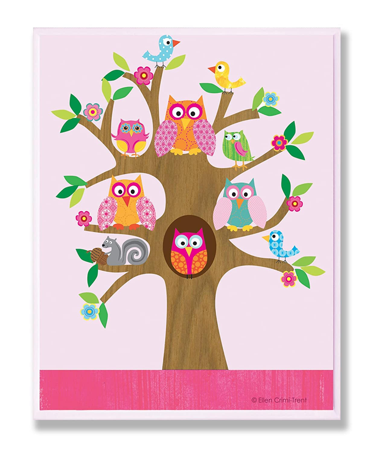 The Kids Room by Stupell Owls, Birds, And Squirrel In A Tree Rectangle Wall Plaque, 11 x 0.5 x 15, Proudly Made in USA BRP-1364