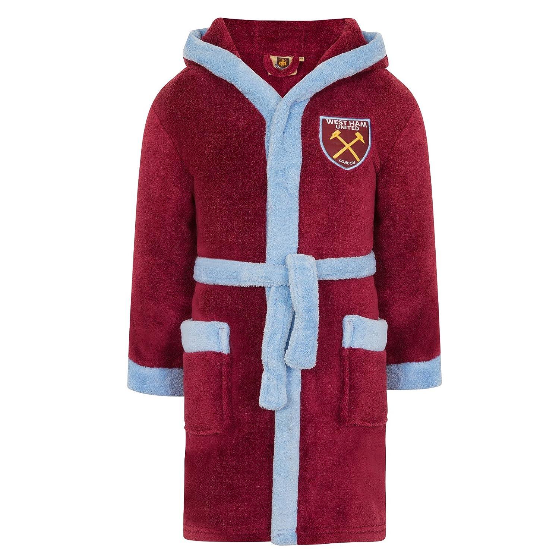 West Ham United FC Official Soccer Gift Boys Hooded Fleece Dressing Gown Robe