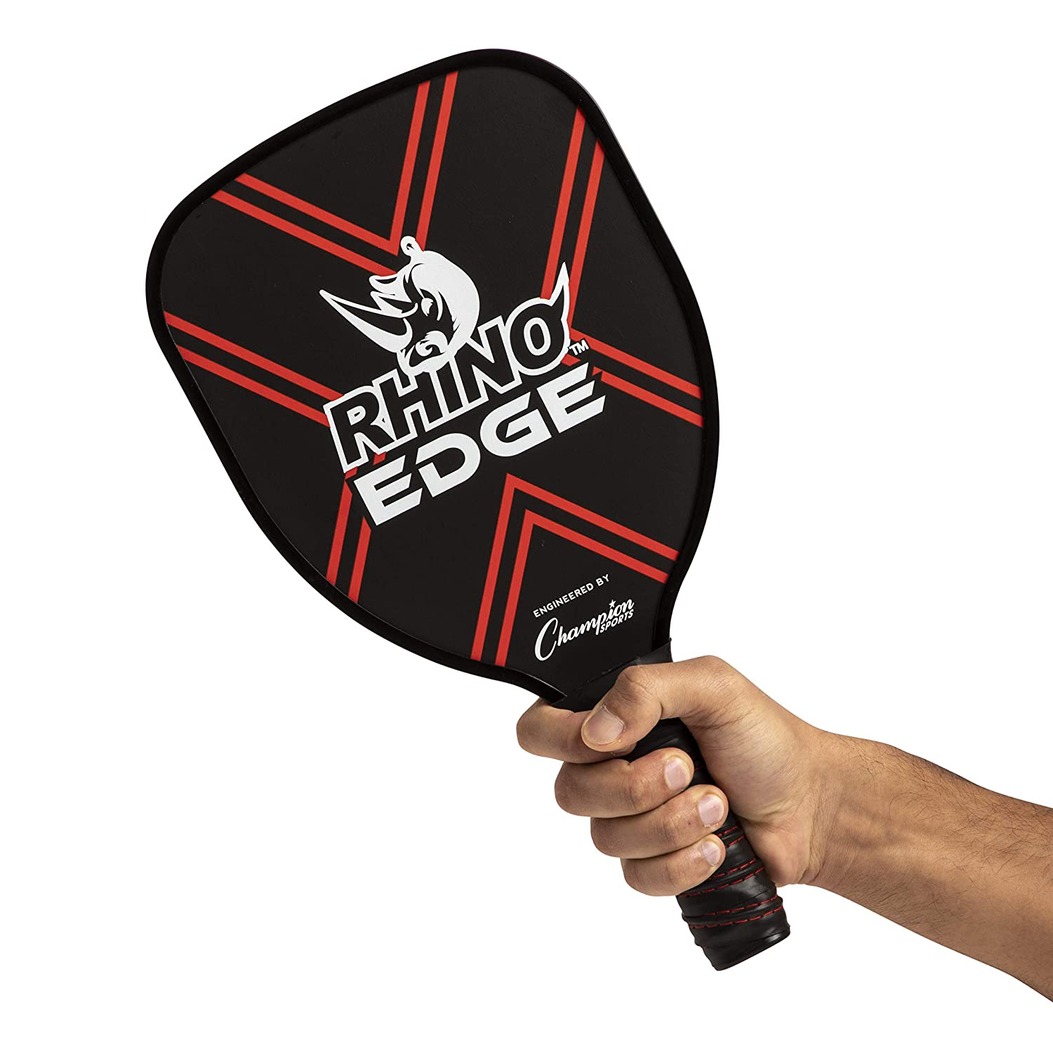 Amazon.com : Champion Sports Wooden Pickleball Paddle Set: Rhino Edge Wood Pickleball Paddle - Indoor/Outdoor Pickle Ball Paddles - Red/Black & Yellow/Black ...