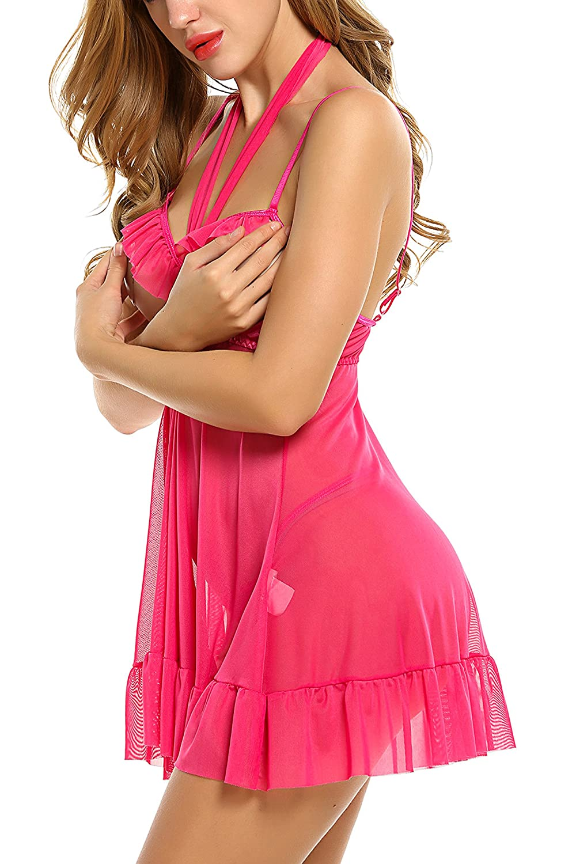 Avidlove Womens Lingerie Halter Chemises Strappy Babydoll Nightwear AML005184#