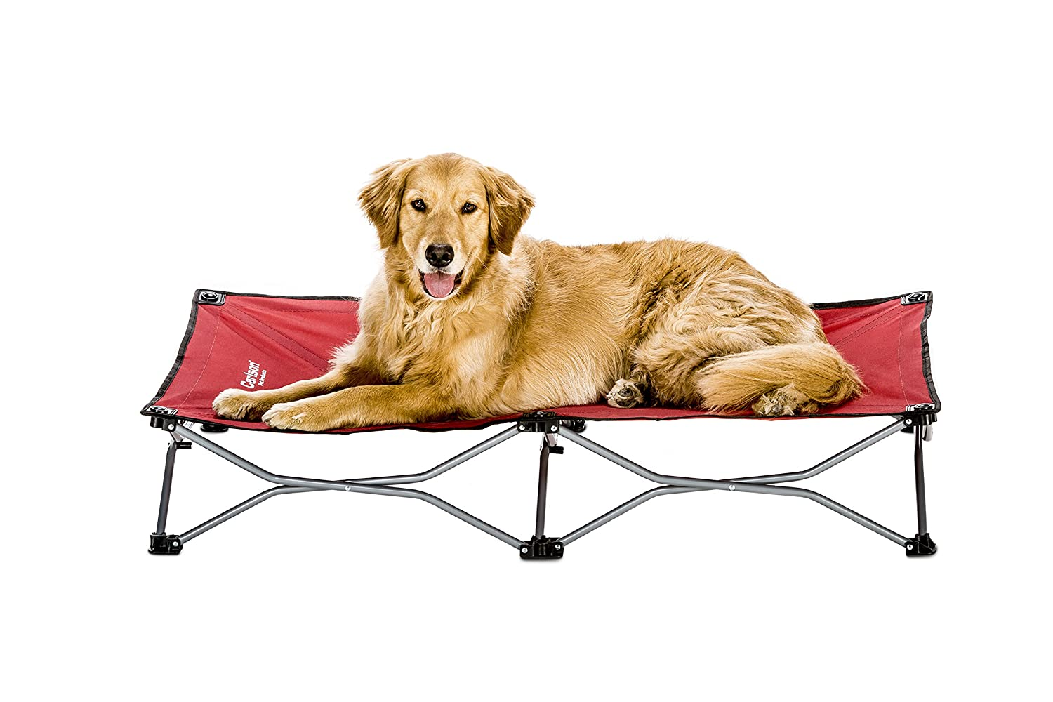 Carlson Pet Products Extra Large Elevated Folding Pet Bed 47 Inches Long, Includes Travel Case, Red