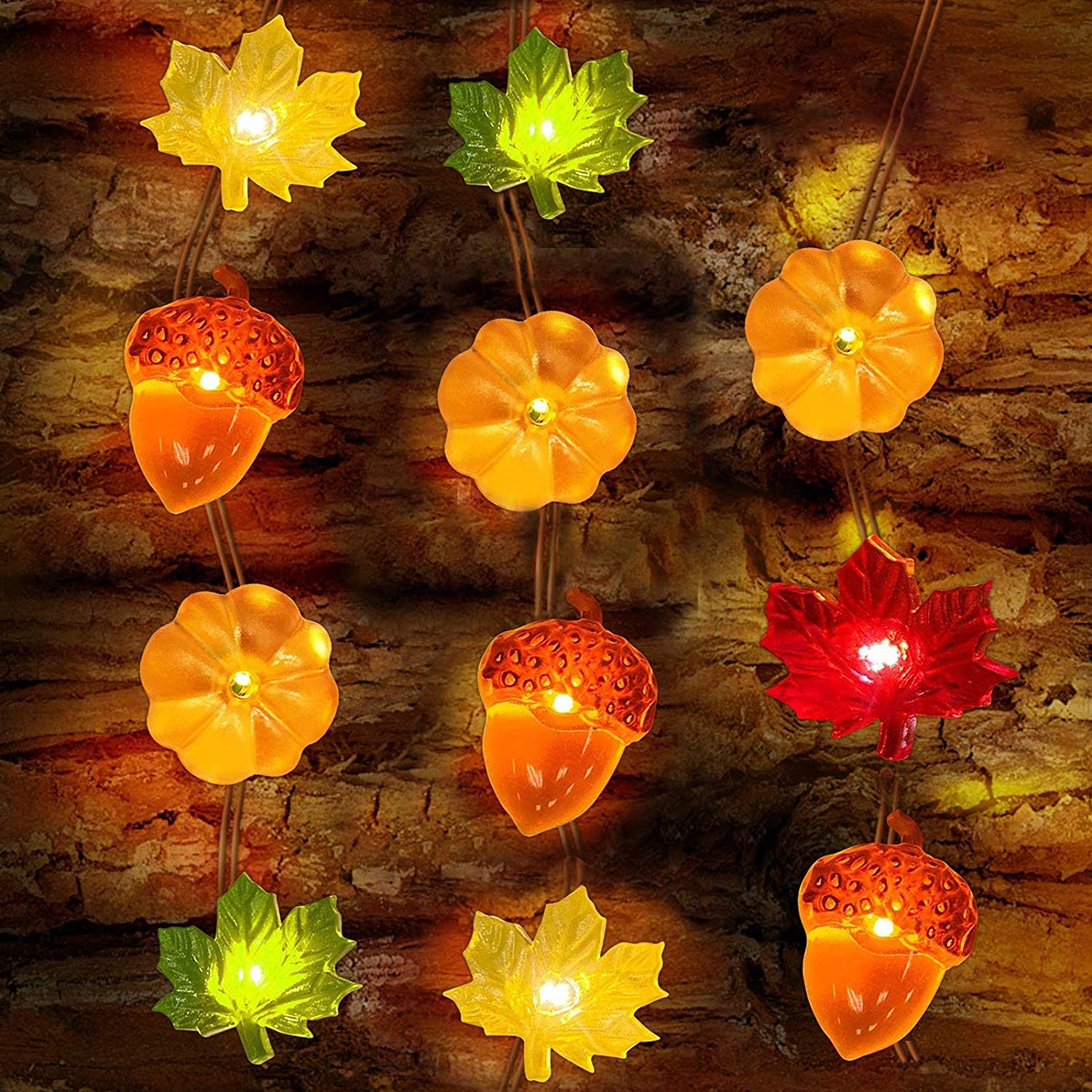 3D Pumpkin Acorn Maple Leaf String Lights, 10ft 30LEDs Battery Powered Fall String Lights for Halloween Fall Autumn Thanksgiving Christmas Fall Garland Indoor Outdoor Decorations Home Party
