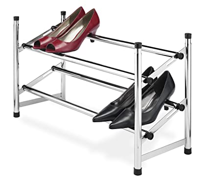 Whitmor Adjustable Chrome Shoe Rack