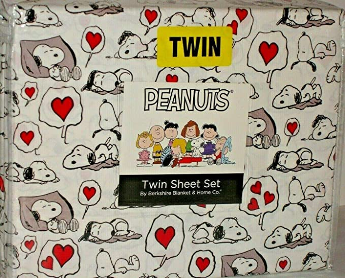 Peanuts Gang Snoopy I Like NAPS Polyester 3 pc Twin Sheet Set in Gray by Berkshire