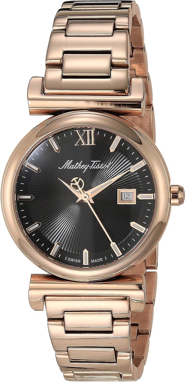 MATTHEY-TISSOT Correa de acero inoxidable de cuarzo Elegancia para mujer, oro rosa, 15 reloj casual (Modelo: D410PN)
