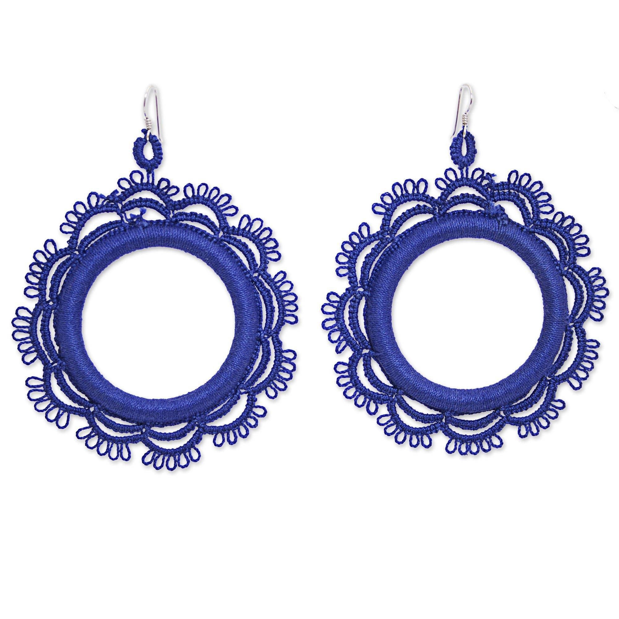 NOVICA Crochet Cotton Dangle Earrings with .925 Sterling Silver Hooks 'Azul Sun'