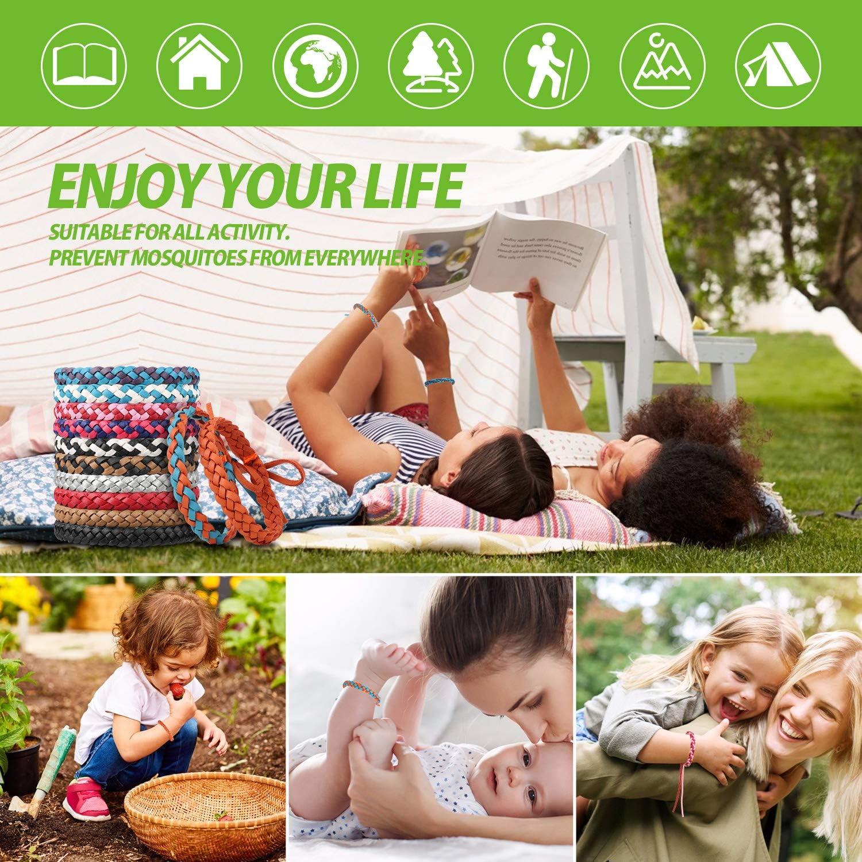 Pulseras Repelentes de Mosquitos LEWONPO Mosquitos Pulsera Repelente Pulsera Antimosquitos Extractos de Plantas 100/% Naturales para Bi/ños y Adultos 12 Piezas Pulseras para Interiores y Exteriores