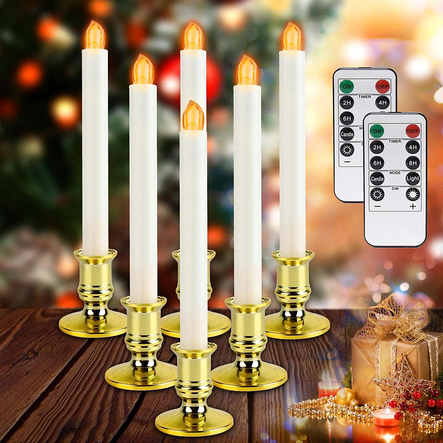 Christmas Window Candles Lights - 6 Pack Flameless Battery Operated Taper Candles with 2 Remote Timer, Led Electric Candle Light with Removable Golden Holder, Suction Cup, Christmas Decor Candles