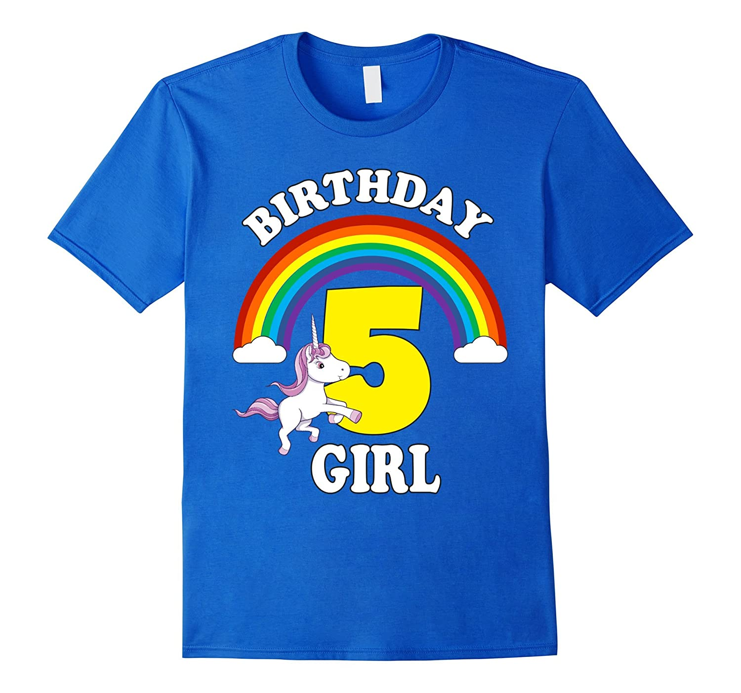 Unicorn Rainbow Birthday Shirt For Girls Age 5 Five Cute TD